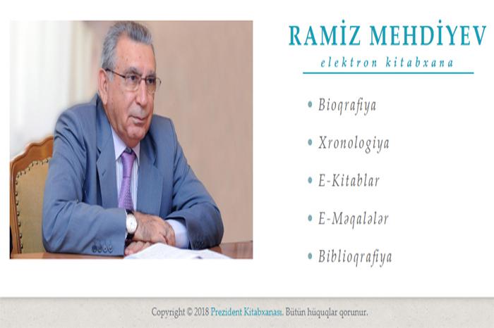 """30.05.2018 13:28 """"Ramiz Mehdiyev. Elektron kitabxana"""" layihəsi istifadəyə verilib"""