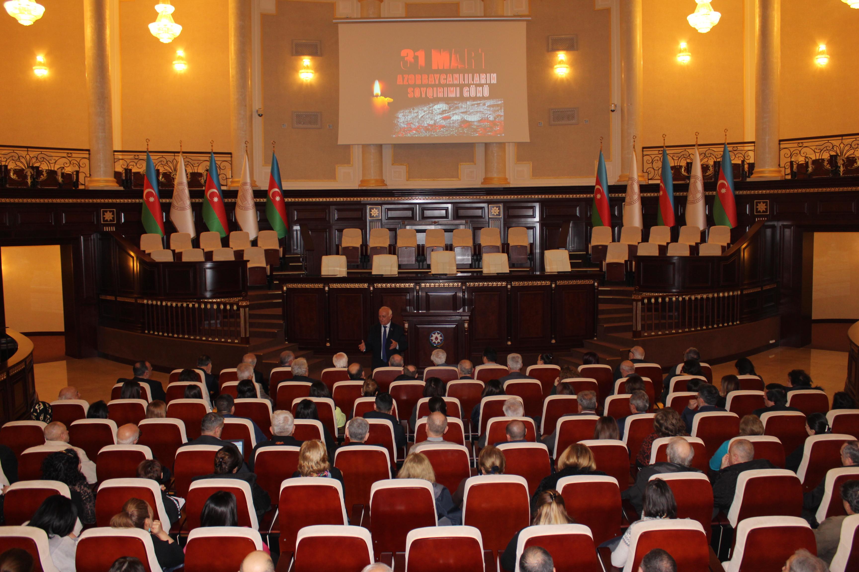 Azərbaycan Milli Elmlər Akademiyasının (AMEA) Tarix İnstitutu 31 mart - Azərbaycanlıların Soyqırımı Günü ilə bağlı genişləndirilmiş Elmi Şura keçirib.